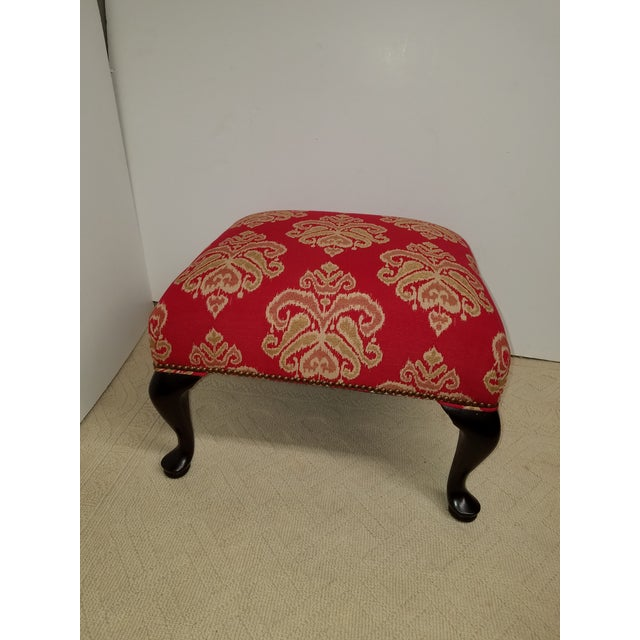 Red Ikat Upholstered Vintage Square Ottoman - Image 2 of 7