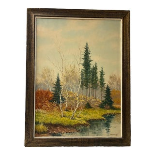 Mid 20th Century Rustic Autumn Landscape Oil Painting Signed Candelis, Framed For Sale