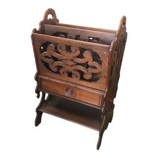 20th Century Art Nouveau Walnut Canterbury For Sale