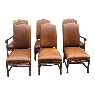 Carved Walnut Leather Parson Chairs - Set of 6