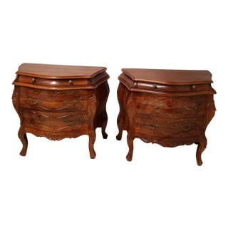 Vintage Italian Rococo Walnut Bombe 3-Drawer Commodes - A Pair