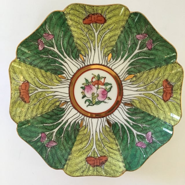 Mid-Century Porcelain Bok Choy Leaf & Butterfly Decorative Scalloped Plate For Sale - Image 10 of 11