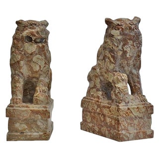 1900s Vintage Chinese Carved Stone Fu Dogs- a Pair For Sale