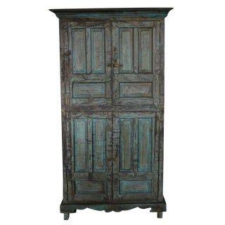 Vintage Goan Indian Hand Painted Cabinet With Four Doors and Substantial Storage For Sale