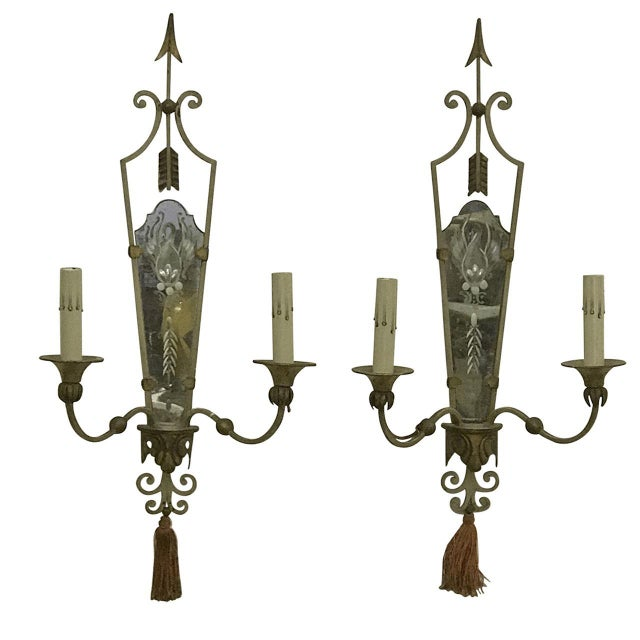 Antique Italian Mirrored Sconces - a Pair - Image 5 of 5