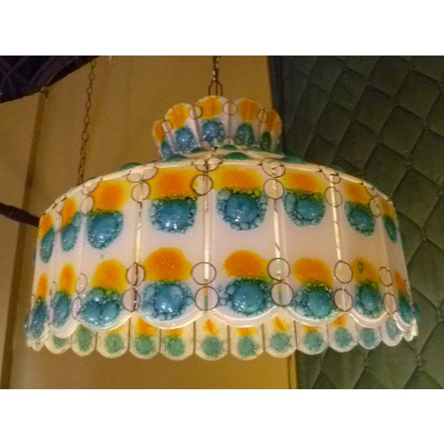 Arts & Crafts 1960s Mid-Century Modern Fused Art Glass Chandelier For Sale - Image 3 of 8