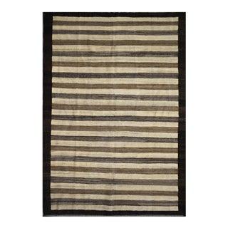 "Striped Afghan Kilim Rug - 6'1"" x 8'2"" For Sale"