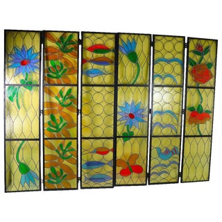 Six Architectural Scale Leaded Windows in the Modernist Style For Sale