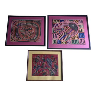 1960s Vintage Mola Tribal Animal Motif Textile - 3 Pieces For Sale