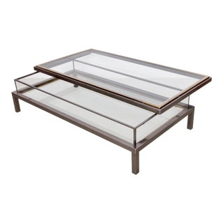 Huge Maison Jansen Sliding Top Coffee Table in Brass and Chrome