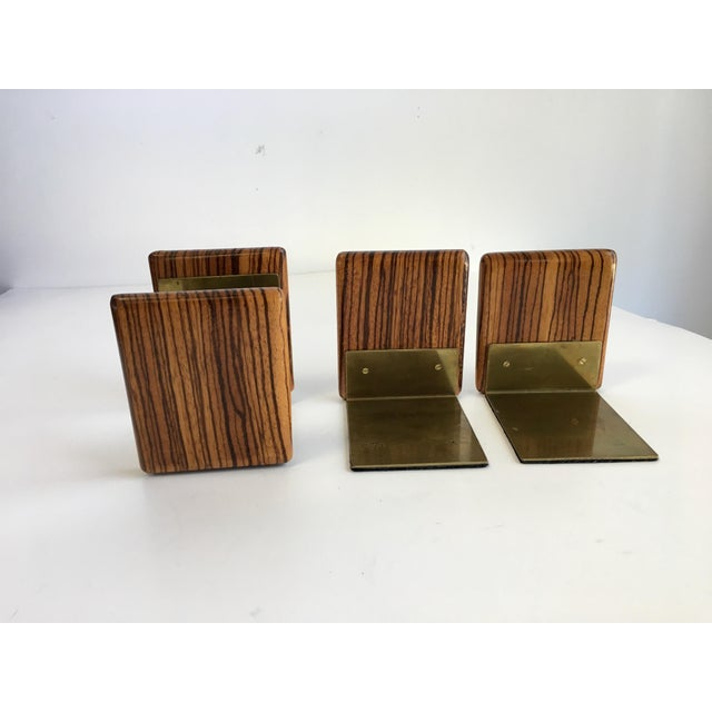 Traditional Zebra Wood and Brass Desk Set with Bookends - Set of 3 For Sale - Image 3 of 7