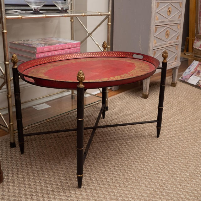 Red Tole Table with Decorative Oval Top and X-Frame Base For Sale In New York - Image 6 of 9