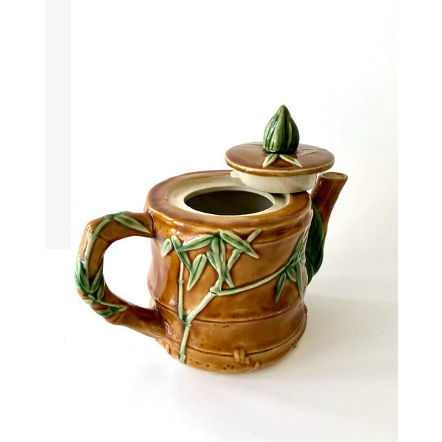 Vintage Ceramic Teapot With Bamboo Relief Carving For Sale - Image 4 of 13