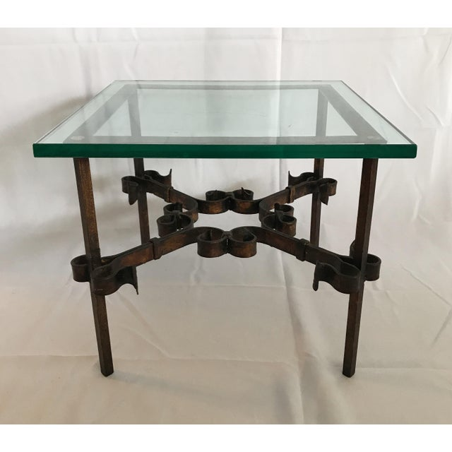 1960's Marshall Fields department store wrought iron and very thick glass side table.