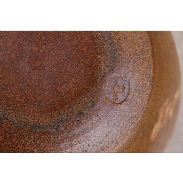 Mid 20th Century Simple Brown Stoneware Bowl For Sale - Image 5 of 6