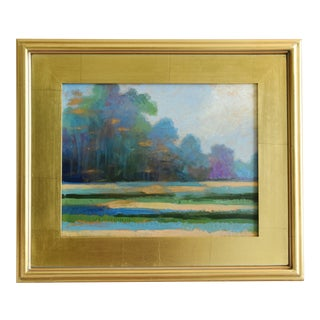 Dreamy Meadow Landscape Plein Air Oil Painting W/ Gold Leaf Frame