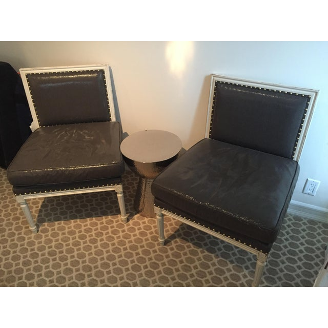Wood Grey Accent Chairs - a Pair For Sale - Image 7 of 7