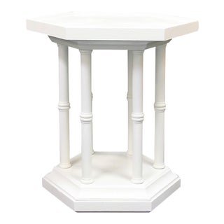 1970s Hollywood Regency Brandt White Faux Bamboo Side Table For Sale