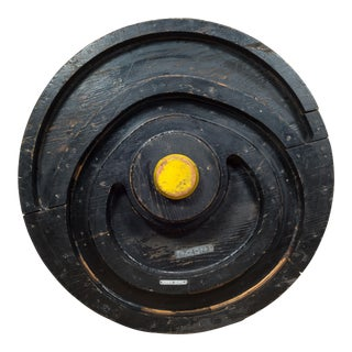 Early 20th C. Large Wooden Train Wheel Foundry Mold C.1900 For Sale