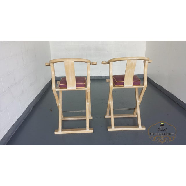 Asian Vintage Chinoiserie Bar Stools - a Pair For Sale - Image 3 of 11