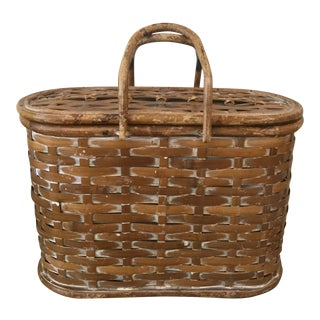 Vintage Bamboo Basket Picnic Basket For Sale