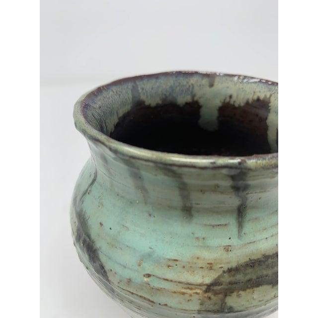 Ceramic Late 20th Century Short Green Ceramic Vase For Sale - Image 7 of 11