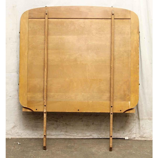 Glass Rounded Square Dresser Mirror With Wooden Base For Sale - Image 7 of 7