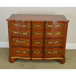 Maitland Smith Satin Wood Floral Hand Painted Serpentine Chest of Drawers Preview