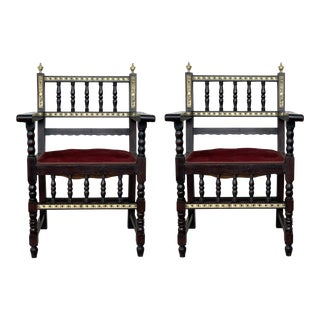 19th Pair of Spanish Armchairs With Bronze Details and Red Velvet Upholstery For Sale
