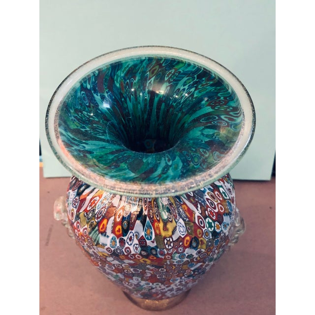 Abstract Venetian Blown-Glass Millefiori Vase For Sale - Image 3 of 9