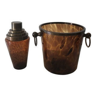 Tortoise Glass Ice Bucket and Shaker - 2 Pieces For Sale