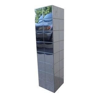 1970's Vintage Paul Evans Cityscape Style Chrome Patch Pedestal For Sale