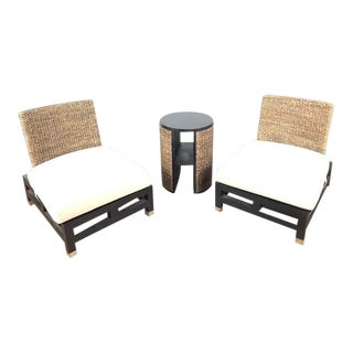Contemporary Rattan Chair and Table Patio Set - 3 Pieces