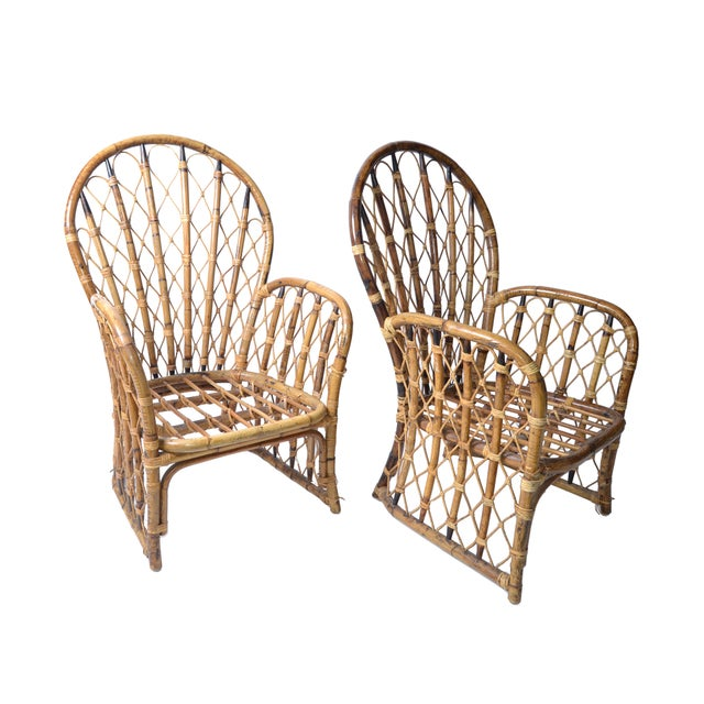 1970s Rattan & Bamboo Dining Chairs - A Pair For Sale - Image 5 of 10