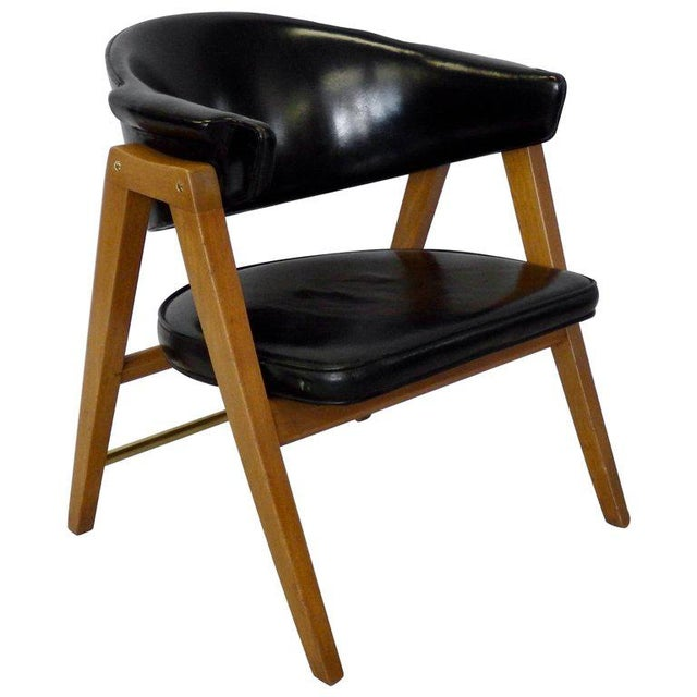 Edward Wormley for Dunbar Lounge Chair With Black Leather For Sale In Detroit - Image 6 of 6