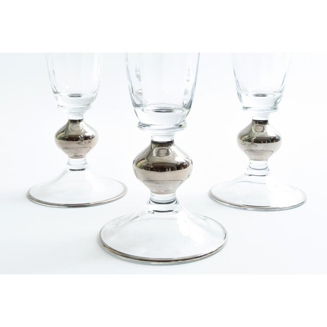 Metal Art Deco Barware Crystal Champagne Flute Set Eight Pieces For Sale - Image 7 of 12