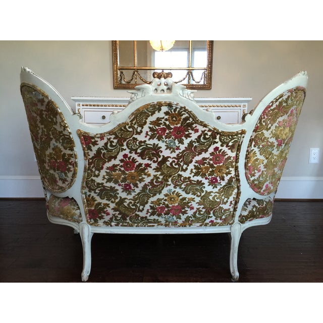 Painted French Settee with Gilt Accents For Sale - Image 11 of 11