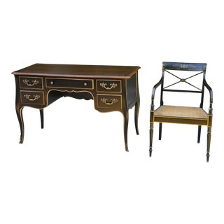 Antique French Provincial Country Writing Desk and Chair by Kindel For Sale