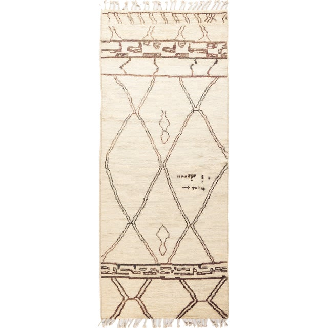Ivory Moroccan Tribal Runner Rug For Sale - Image 4 of 4