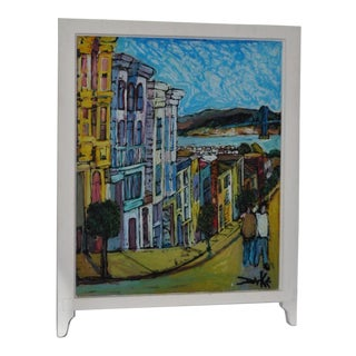 Lombard Street, Reclaimed Victorian Window Painting by Duke C.2010