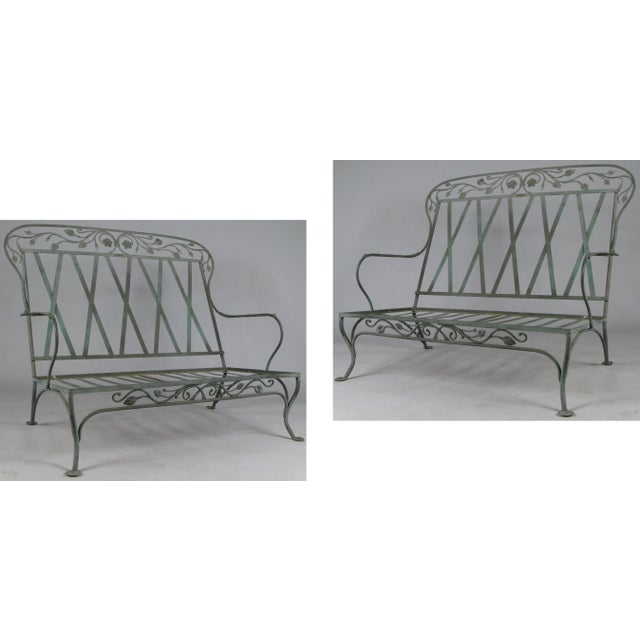 Wrought Iron Settees by Salterini, Circa 1950 - a Pair For Sale - Image 11 of 11