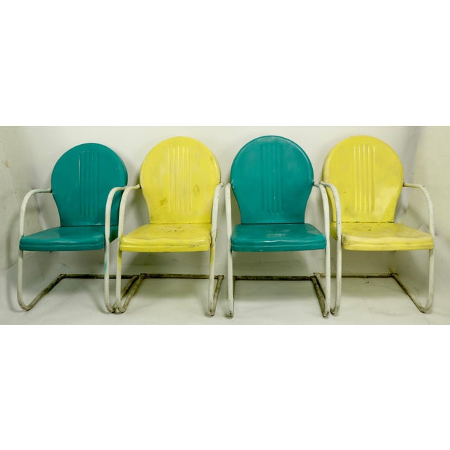 Mid Century Metal Lawn Garden Patio Chairs by Shott - a Pair For Sale - Image 12 of 13