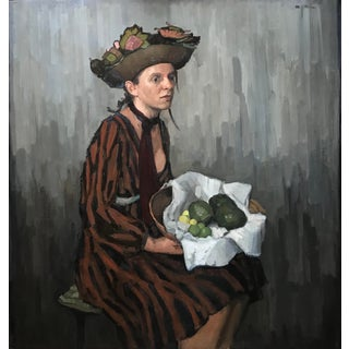 "Rubino Oil Painting ""Gleaner"", Contemporary Gray and Brown Portrait For Sale"