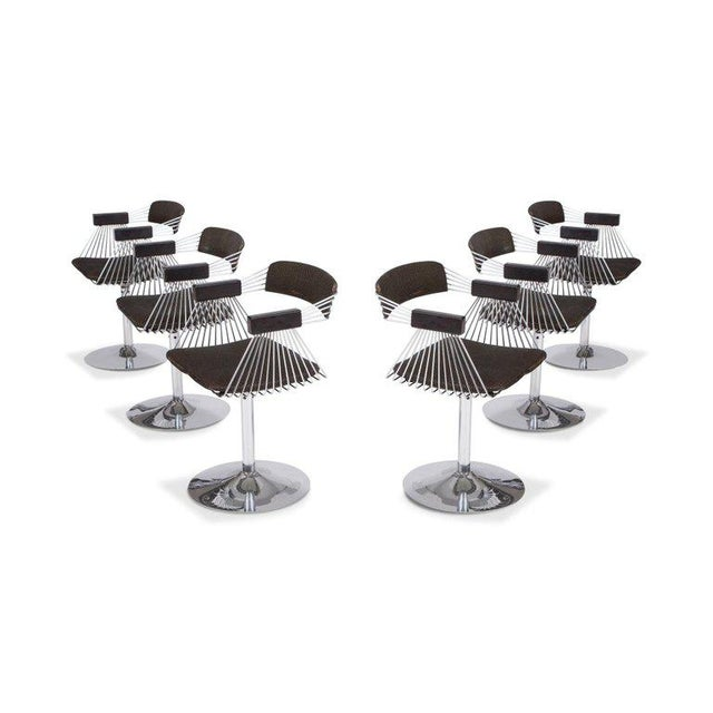 1970s Rudi Verelst Space Age Swivel Armchairs in Chromed Steel For Sale - Image 5 of 12