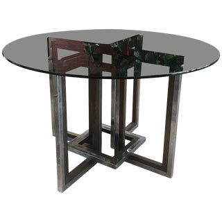 Romeo Rega, Chrome, Brass and Tinted Glass Dining Room Table, Italy, 1970 For Sale
