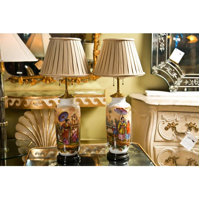 19 C. French Chinoiserie Porcelain Lamps - Pair For Sale - Image 10 of 10