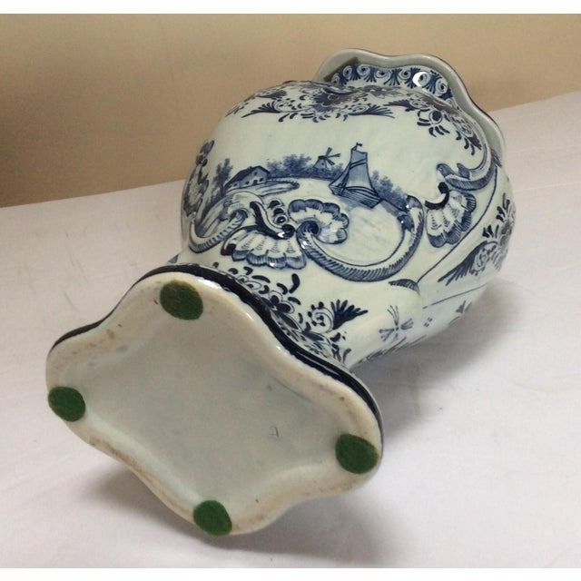 Traditional Delft Style Decorative Lidded Jar For Sale - Image 3 of 9