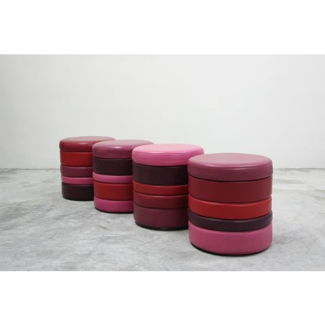 Vintage Stacked Multicolor Colorful Stools or Ottomans - Set of 4 For Sale - Image 4 of 7
