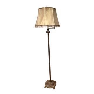 Vintage Stiffel Swing Arm Vintage Floor Lamp in Bronze Metal With Beaded Shade For Sale