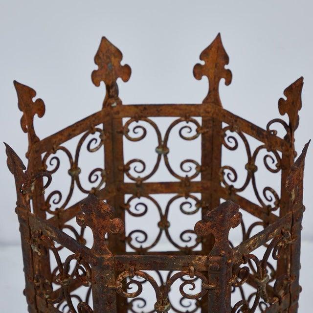 19th century decorative iron jardinière from France.